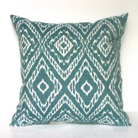 Teal Baja Print / Tribal Print Throw Pillow, 14x14, Home / Dorm Decor - Pillow Insert Included