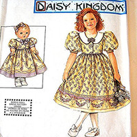 Daisy Kingdom Dress Pattern Simplicity Girls Size 7 8 10 12 14 and matching 18 inch Doll Dress full Skirt, Puff Sleeves
