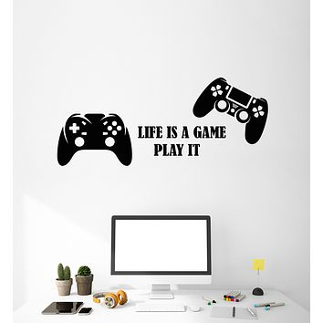 Vinyl Wall Decal Video Games Play Boys Room Two Joysticks Stickers Mural (g3214)