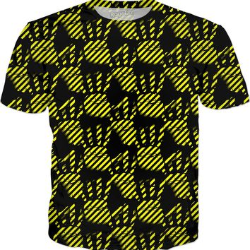 Black and yellow construction stripes, palm prints pattern tee shirt design, stencil hands