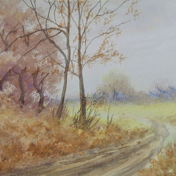 Country Backroad Landscape Watercolor Painting