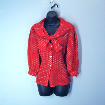 Vintage Red Polka Dot Sailor Ascot Blouse Dotted Shirt