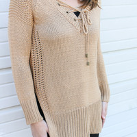 Back To Me Camel Thick Knit Lace Up Sweater