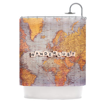"Sylvia Cook ""Wanderlust Map"" World Shower Curtain"