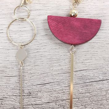 Mismatched Semicircle And Rod Drop Earrings