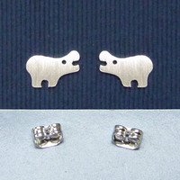 925 sterling silver Hippo ear studs, handmade sterling silver ear post, sterling silver ear studs, mini earstuds