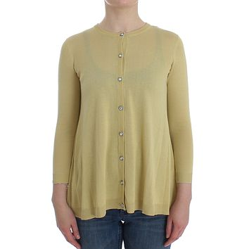 Yellow Silk Crystal Cardigan Sweater Crew Neck