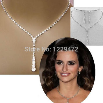 Silver Plated Celebrity Style Tennis Drop Crystal Necklace Earrings Set Bridal Bridesmaid Wedding Jewelry Sets
