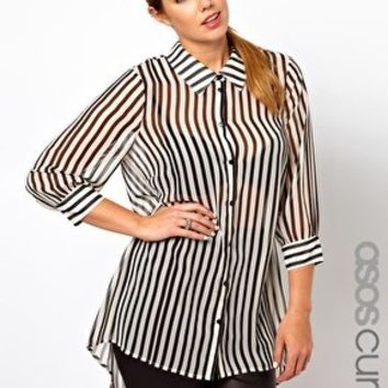 ASOS CURVE Exclusive Shirt In Stripe at asos.com