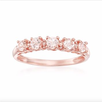 10k Rose Gold Morganite and Diamond Accent Stackable Ring (H-I, I1-I2) | Overstock.com Shopping - The Best Deals on Gemstone Rings