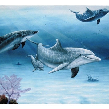 Dolphin Family Canvas Wall Plaque