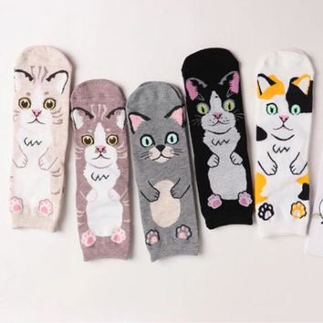 New  2018 Harajuku Cotton Women Socks Cat  Pattern Socks Personality Femme Women Socks Autumn Winter Sock