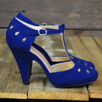 Pure Romantics Suede Eyelet Cut Out Heels Navy