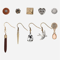 Topshop 'Heart/Bird/Spike' Stud & French Wire Earrings (Set of 10) | Nordstrom