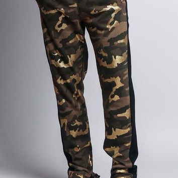 Men's Slim Fit Gold Foil Camo Track Pants TR516 - B14F