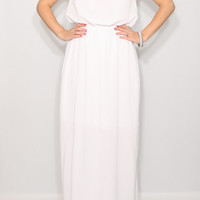 White dress long Wedding dress Chiffon dress