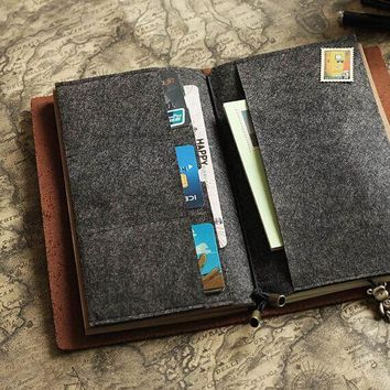 Felt Card Holder for Midori Travelers Notebook Credit Card Holder Card Organizer Leather Journal Accessories