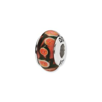 Red, Orange Hand-Blown Glass Bead & Sterling Silver Charm, 13mm