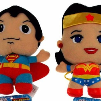 Lot 2 DC Comics Originals Little Mates Superman Wonder Woman Plush Superhero Set