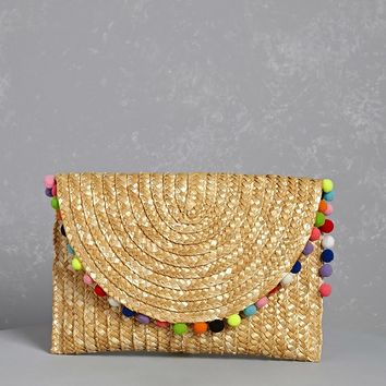 Shiraleah Straw & Pom Pom Clutch
