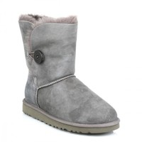 UGG Australia Bailey Button Womens Grey Suede Sheepskin Boots