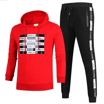 ADIDAS 2018 autumn and winter new men's casual outdoor sportswear two-piece red