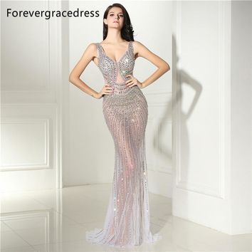 Forevergracedress Sexy Illusion Backless Prom Dress V Neck Beaded Crystals Long Formal Party Gown Plus Size Custom Made