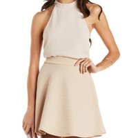 Light Taupe Textured Skater Skirt by Charlotte Russe