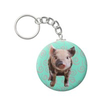 Cute Pig - Turquoise & Melon Swirls Key Chains