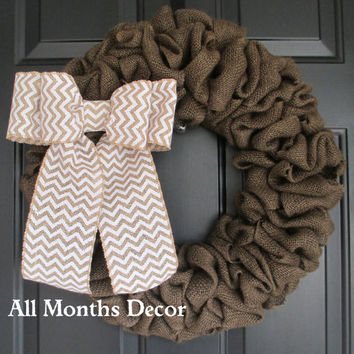Brown Burlap Wreath with Chevron Burlap Bow, Country, Rustic, Door Porch, Spring Easter Fall Winter, Holiday, Year Round