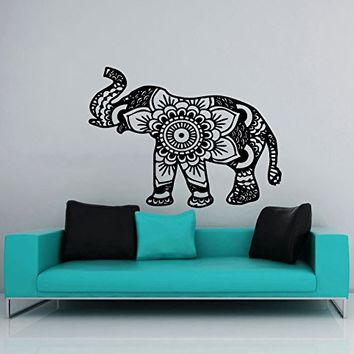 Wall Decal Elephant Vinyl Sticker Decals Lotus Indian Elephant Floral Patterns Mandala Tribal Buddha Ganesh Om Home Decor Bedroom Art Design Interior NS384