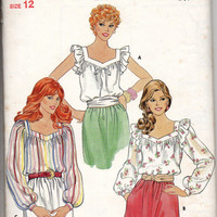 Butterick 4294 Sewing Pattern Retro Boho Hippie 70s Style Peasant Blouse Romantic Poet Shirt Ruffle Sleeves Blouson Top Bust 34