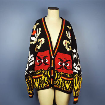 OS Vintage No! Jeans Oversized Graphic Cardigan Sweater Fully Lined Angel Graphic Sweater All Over Print Black White Red Yellow Gold Varsity