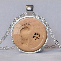 DOG LOVER NECKLACE Dog Paw Pendant Paw Print Jewelry Paw and Footprint Pendant Gift for Dog Lover Gift