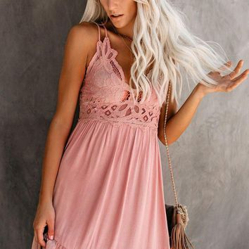 Pink Crochet Lace Spaghetti Strap Ruffle Dress