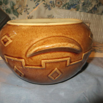 art deco designs  brown glazed  stoneware pottery crock tureen antique ear handles usa