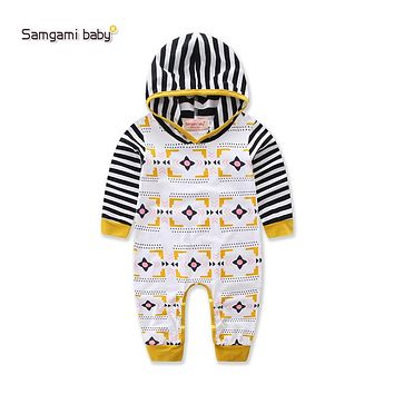 Long sleeve hooded infant baby rompers Jumpsuit cotton Baby Newborn Clothes baby boy striped cap long-sleeve rompers