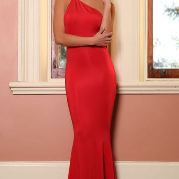 One Shoulder Open Back Fishtail Red Long Dress