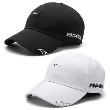 2017Hot Sale Men Women Baseball Cap Unisex Solid Ring Pin Curved Hats Snapback Caps Casquette