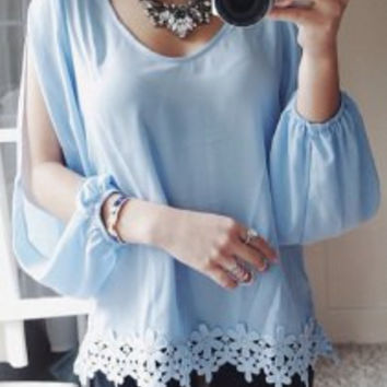 Light Blue Lace  Blouse