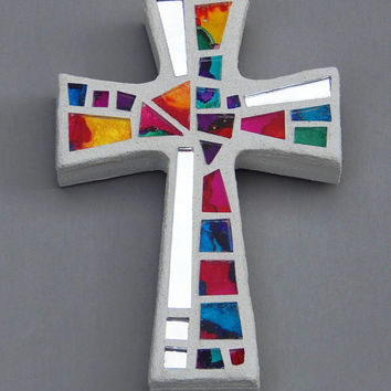 "Mosaic Wall Cross, Small, White with Hand Painted Rainbow Glass + Silver Mirror, Handmade Stained Glass Mosaic Cross Wall Decor, 6"" x 4"""