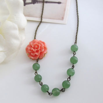 Romantic Nature Earth Inspired. Orange Peach Salmon Rose Flower, Green Jade Glass Bead Necklace. Bridal Wedding Jewelry, Bridesmaid Gift