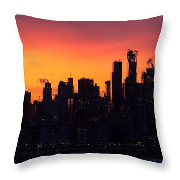I Love New York Sunset Abstract Throw Pillow. Orange Indoor Pillow Orange Seat Cushion Architectural Pillow Cover Outdoor Accent Pillow