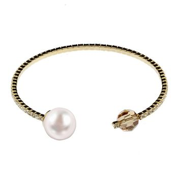 Women's Pearl Sign Line Bracelet Swarovski Element Bangle Crystal Jewelry for Woman Aluminum Plated
