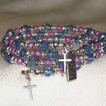 Crosses Blue Swarovski Crystal & Hot Pink Stardust  Beaded Silver OOAK Artisan Crafted Wrap Bracelet(signed)