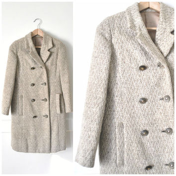 small HERRINGBONE wool coat / vintage 1960s NEUTRAL long double breasted petite CLASSIC minimalist pea coat