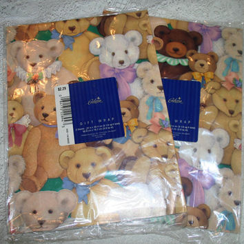Vintage Teddy Bear Wrapping Paper Gift Wrap 2 Packages 80s Romantic Victorian Teddy Bears