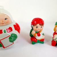 Christmas Elves Salt Pepper Shakers with Mrs. Clause Avon