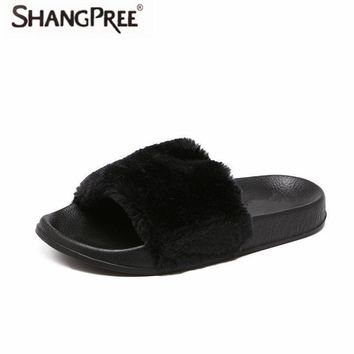 SHANGPREE® Comfort Fluffy Faux Fur Fashion Plush Casual Slipper Flip Flop Sandal