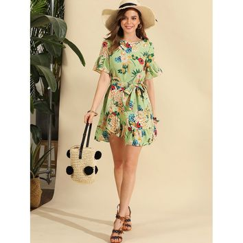Random Botanical Print Ruffle Trim Belted Dress